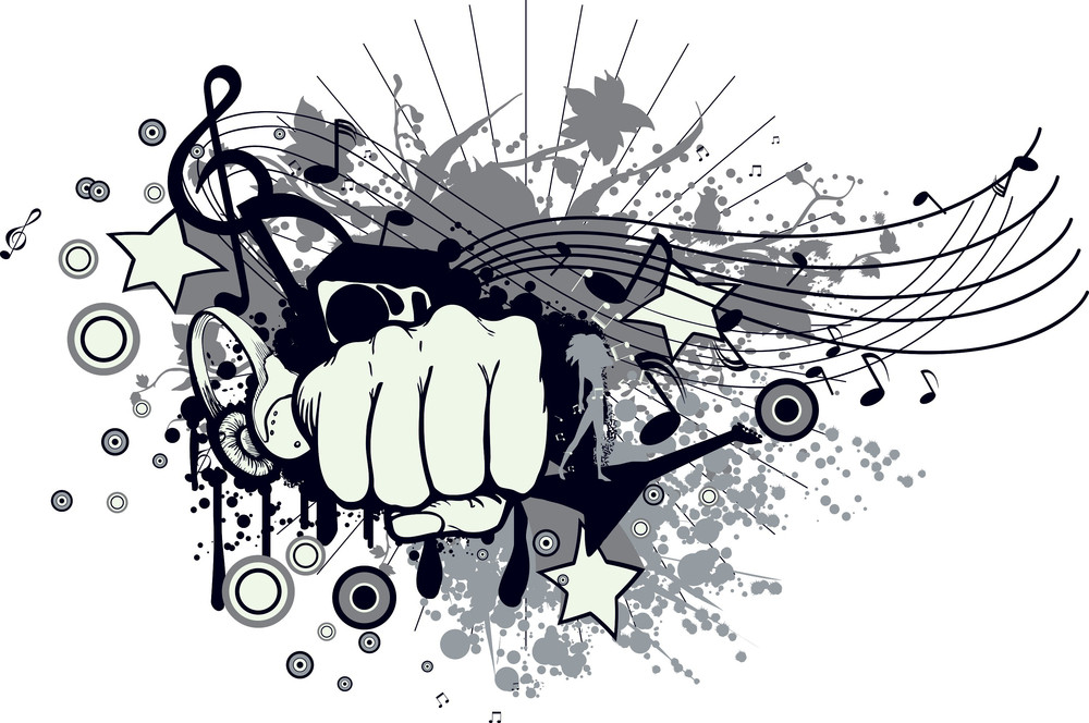 Vector Music T-shirt Design With Fist