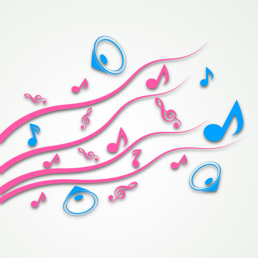 Vector Musical Background With Colorful Music Notes