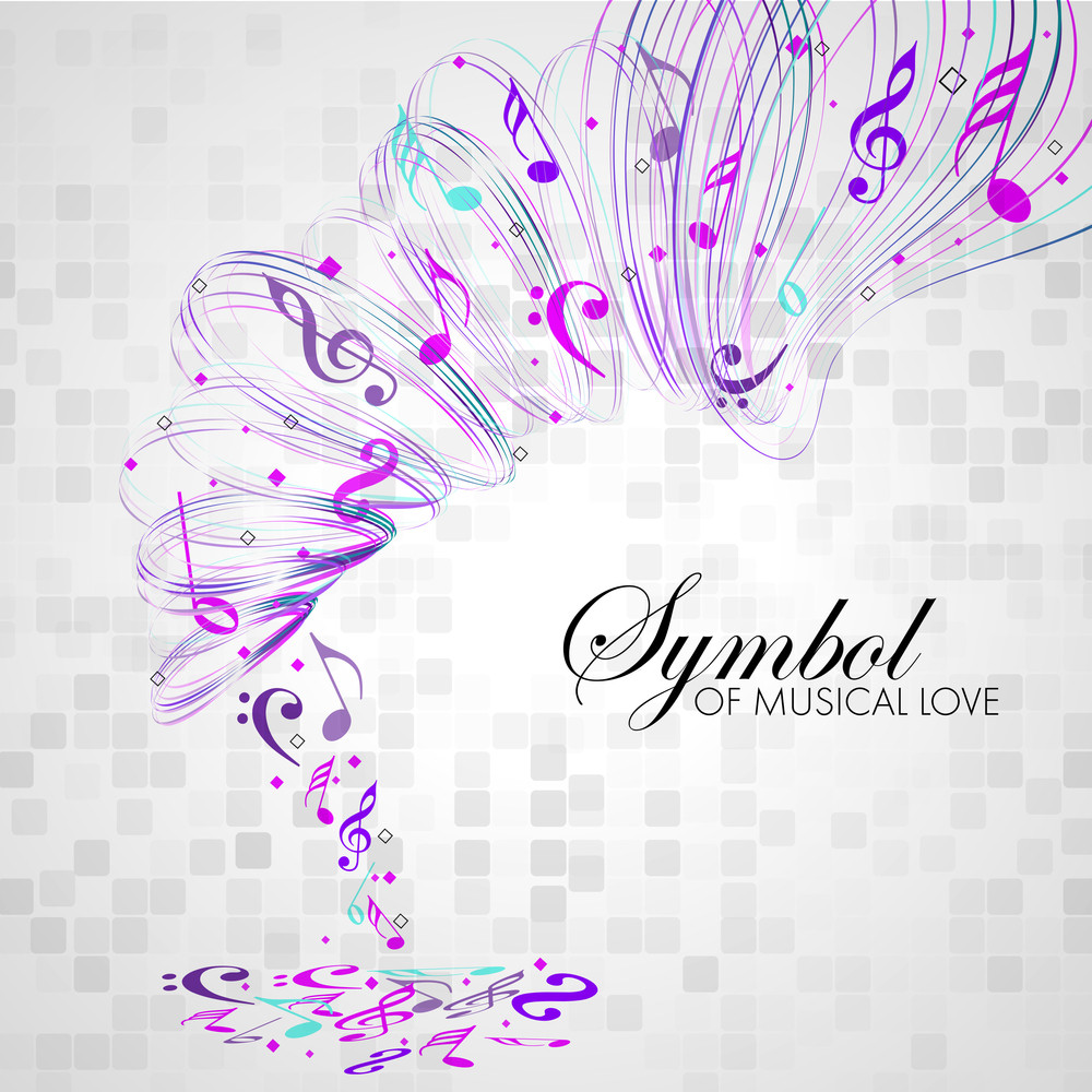 Vector Musical Background With Colorful Musical Notes And Waves And Copy Space For Your Text. Can Be Use As Flyer