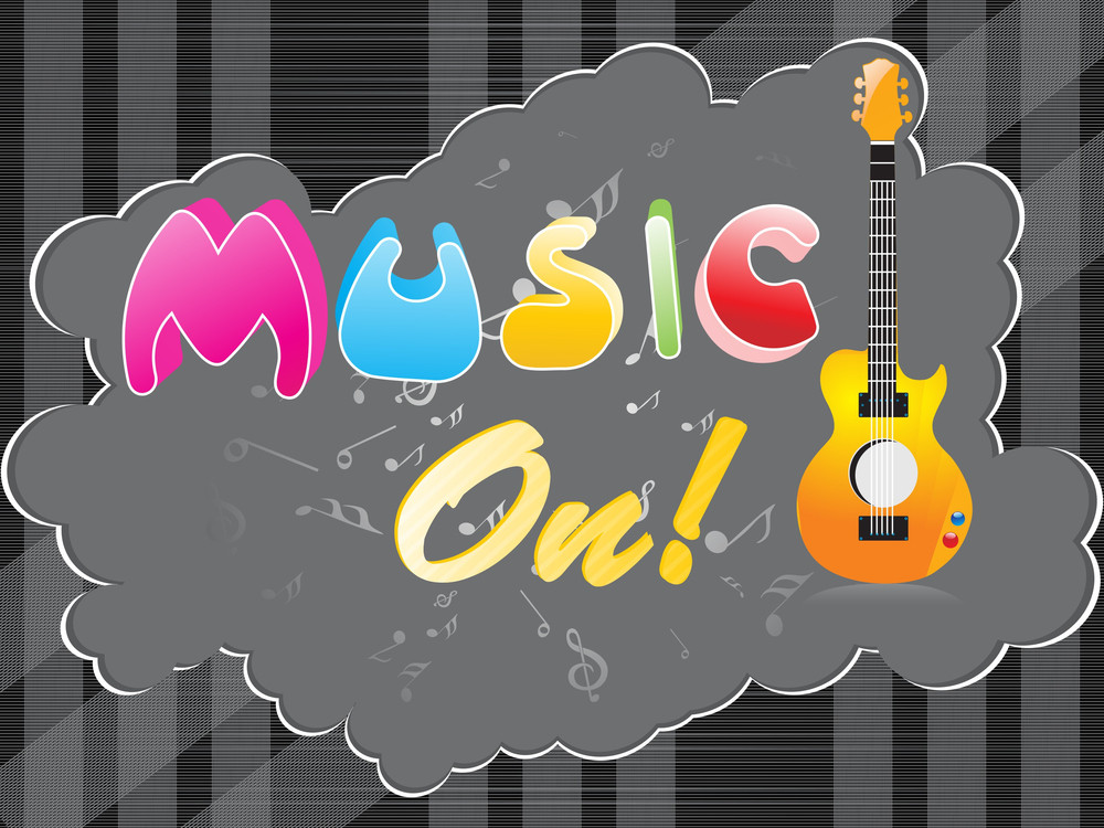 Vector Musical Background With Guitar