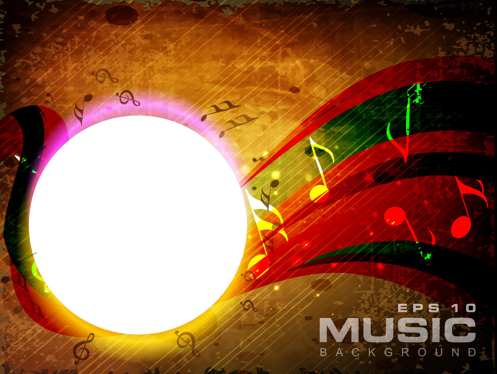 Vector Musical Background With Musical Notes And Waves And Copy Space For Your Text. Can Be Use As Flyer