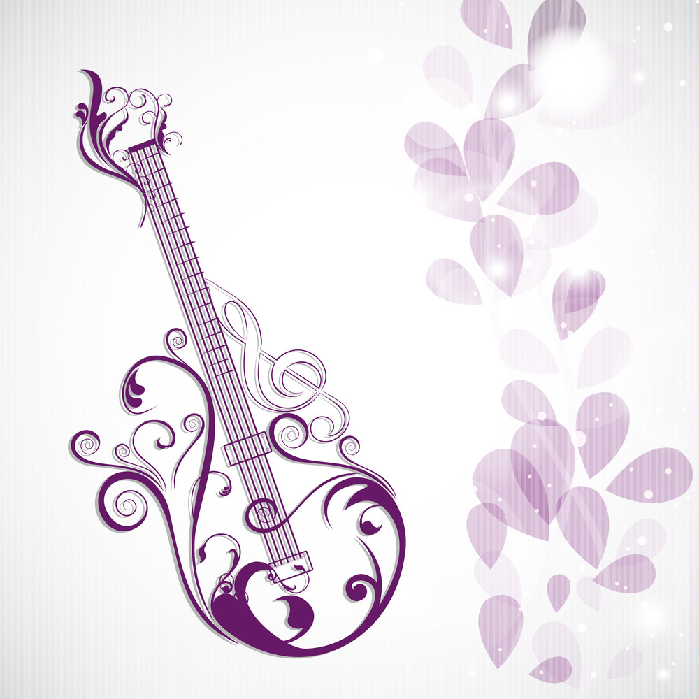 Vector Musical Concept With Floral Decorated Guitar On Floral Decorated Background