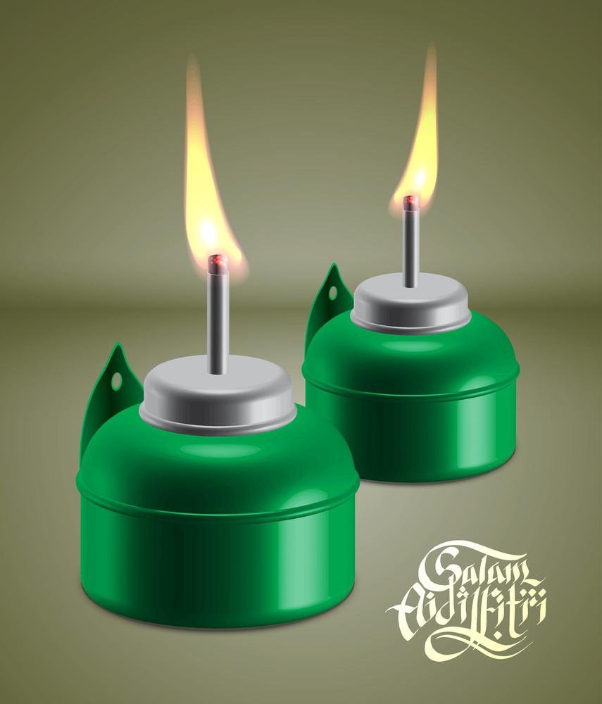 Vector Muslim Oil Lamp - Pelita. Translation: Aidilfitri Greetings
