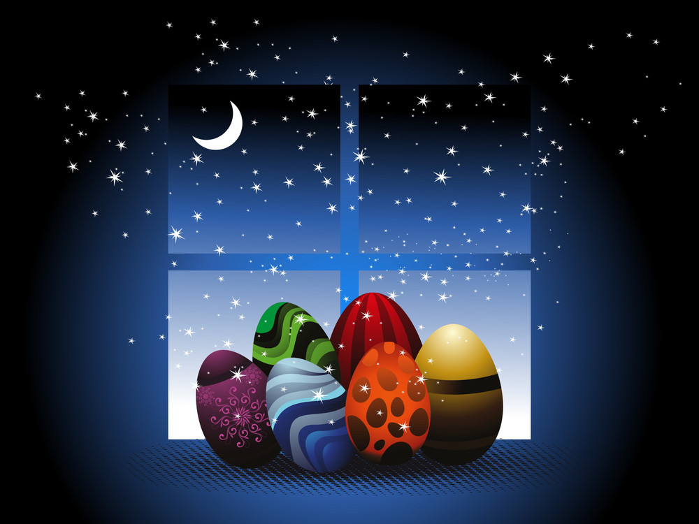 Vector Night Background With Colorful Egg