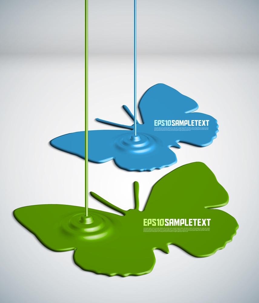 Vector Paint Dripping Butterflies