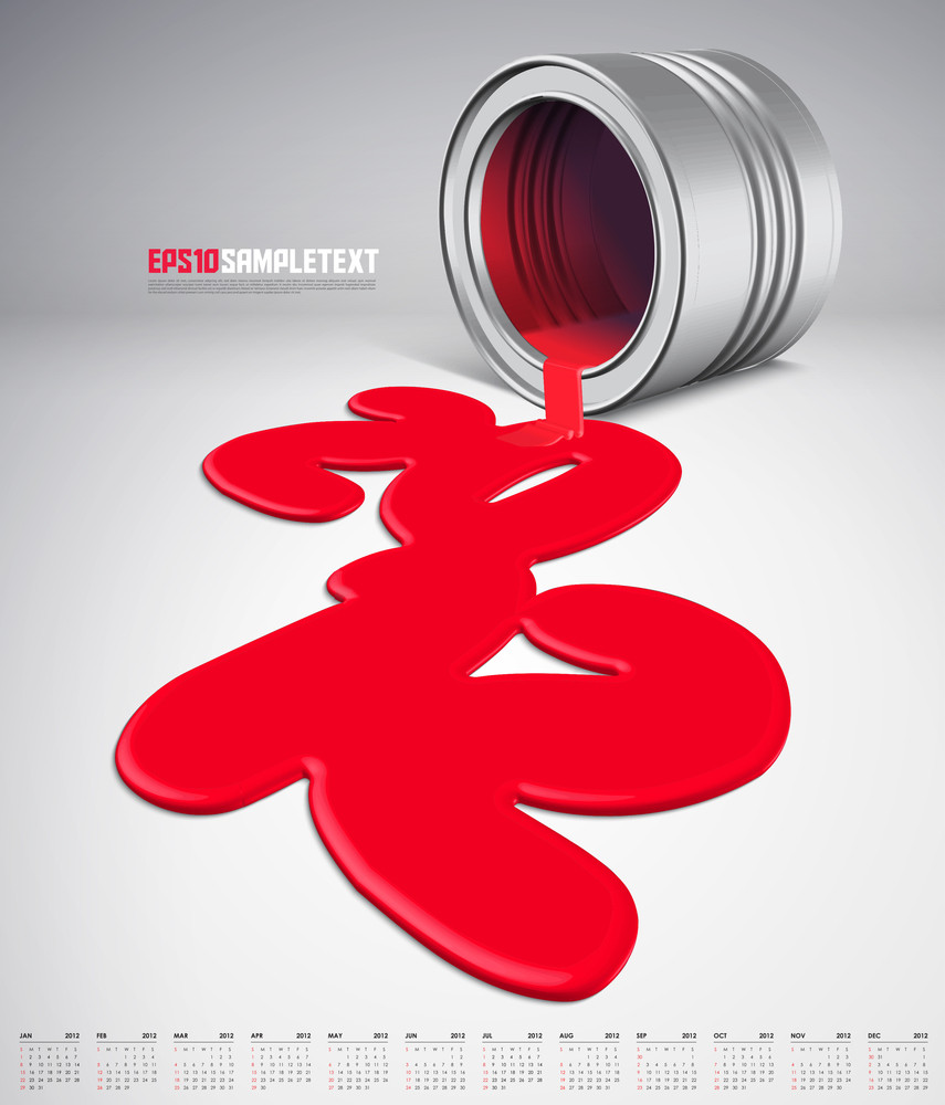 Vector Paints Dripping 2012 With Calendar