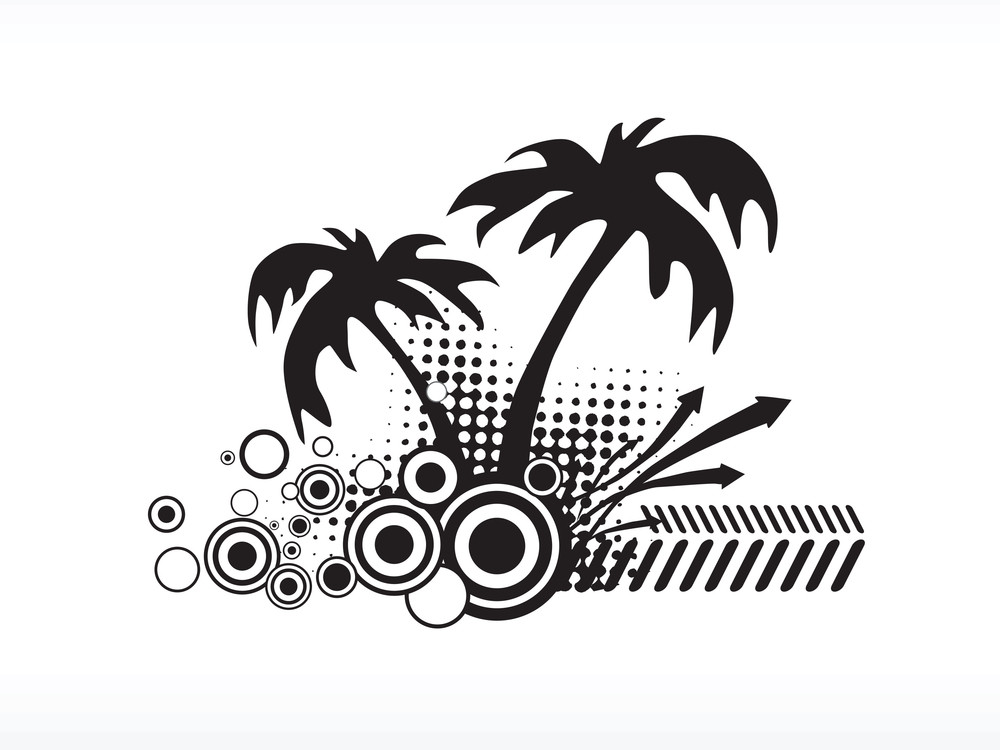 Vector Palm Tree Series_2 Logo Isolated On White