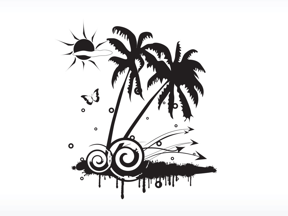 Vector Palm Tree Series_3 Logo Isolated On White