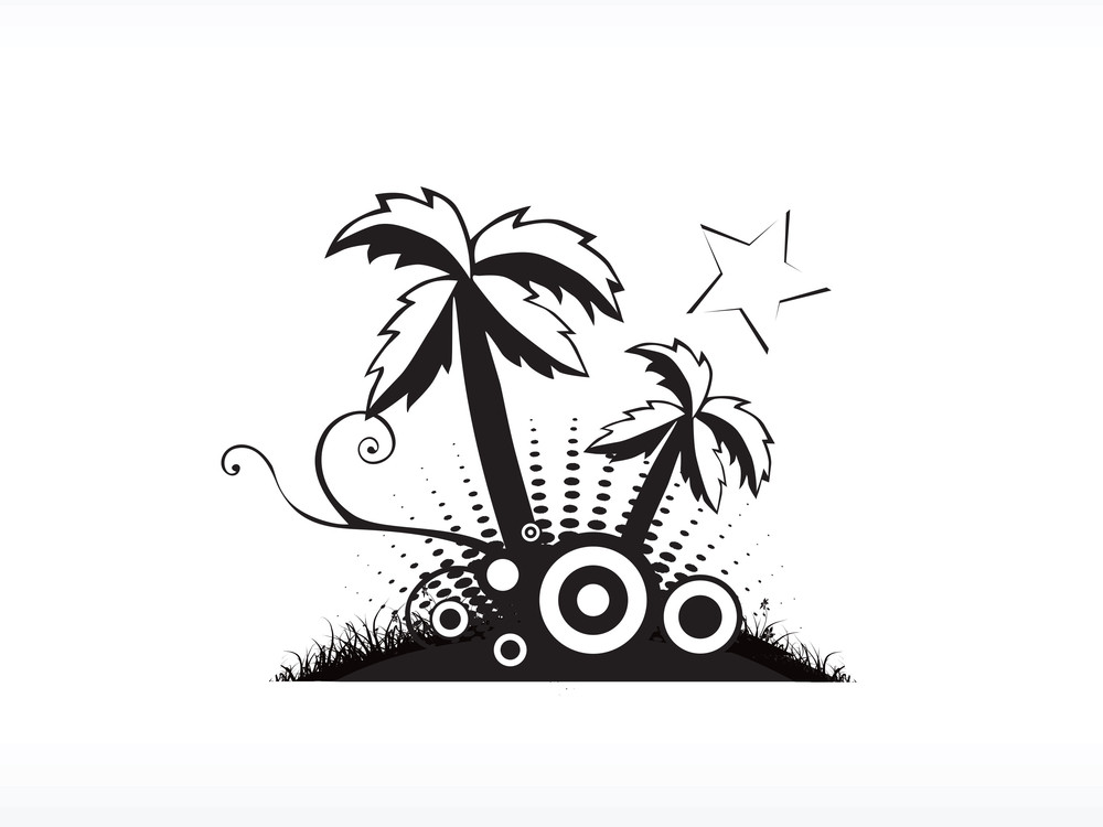 Vector Palm Tree Series_4 Logo Isolated On White