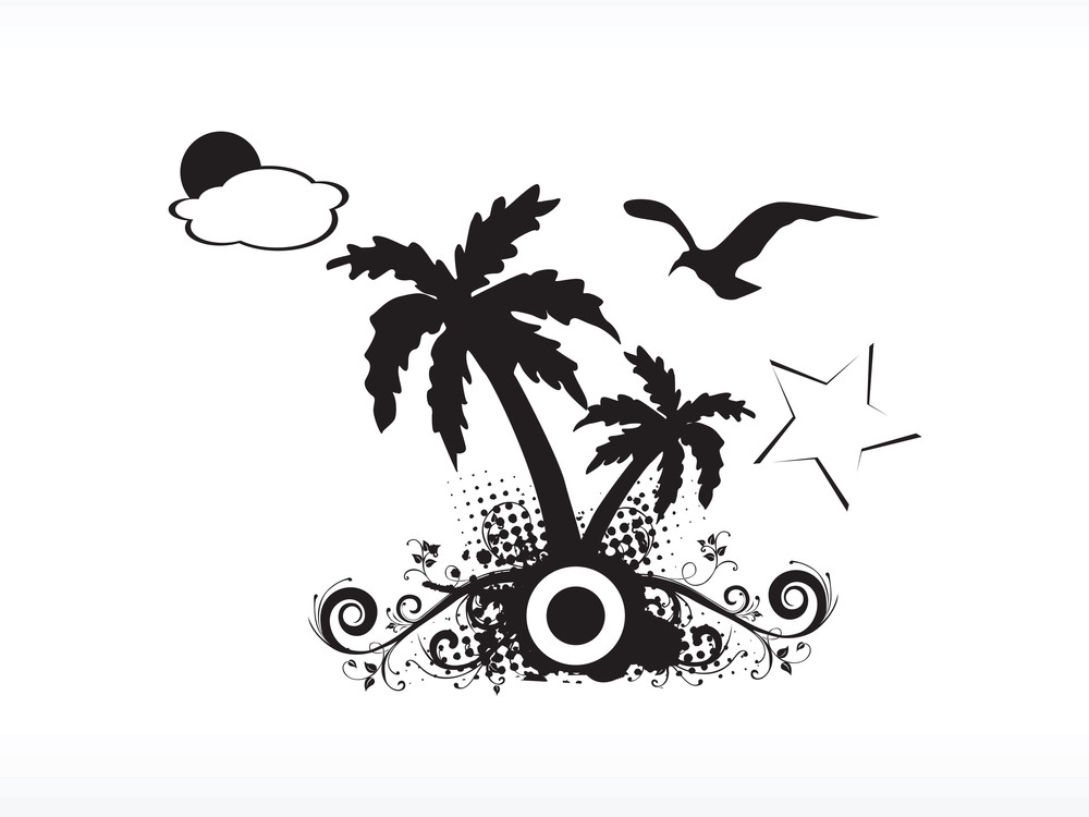 Vector Palm Tree Series_5 Logo Isolated On White