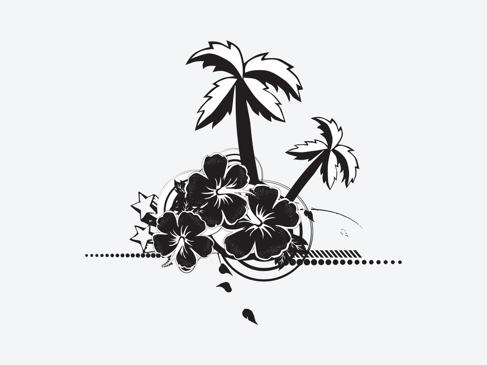 Vector Palm Trees With Hibiscus Flowers And Stars Elements