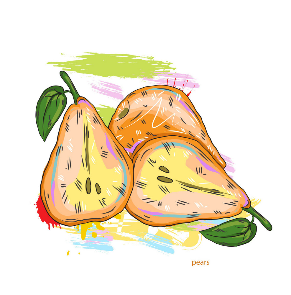 Vector Pears With Colorful Splashes