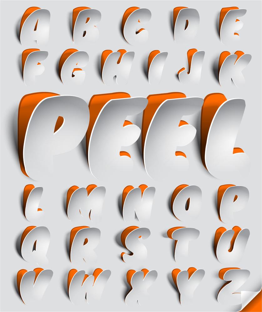 Vector Peeled Off Font Set