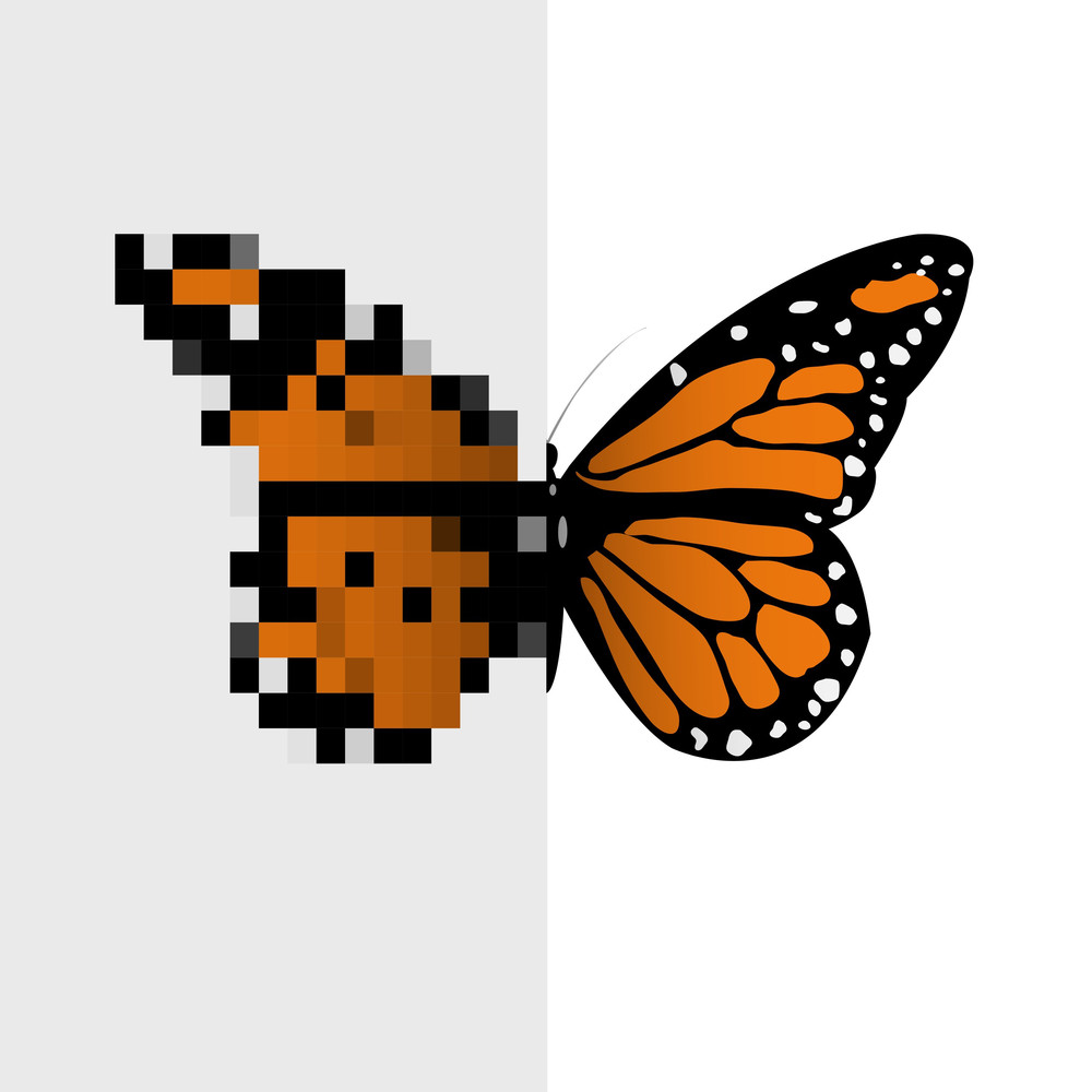 Vector Pixel Art Butterfly