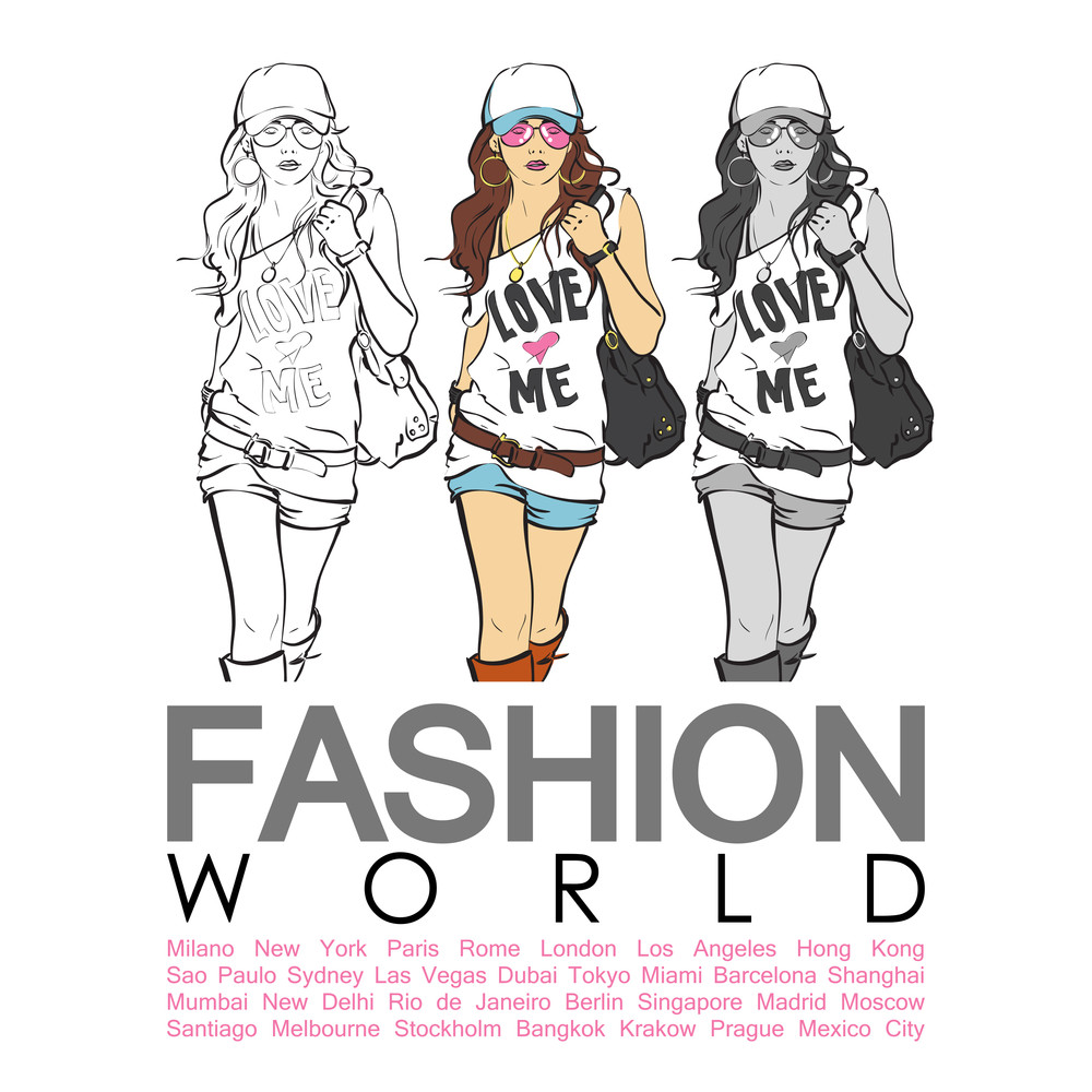 Vector Placard With Sweet Fashion Girl.