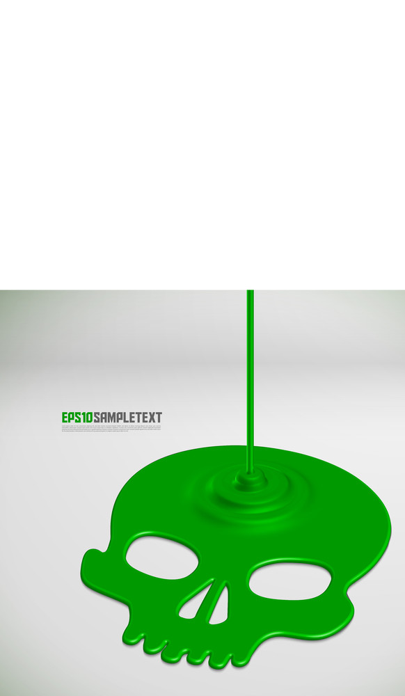 Vector Poisonous Liquid Dripping Green Skull