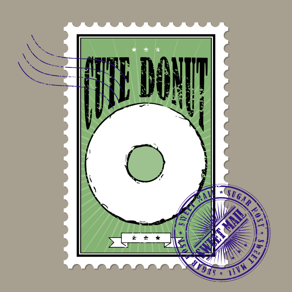 Vector Postage Stamps With Donut In Grunge-style.