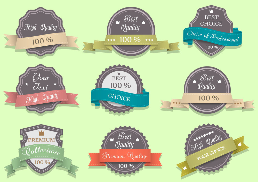 Vector Premium Quality Labels In Retro Style