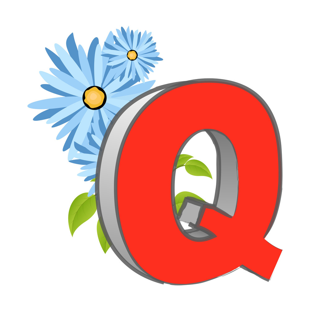 Vector Q Alphabet With Flower