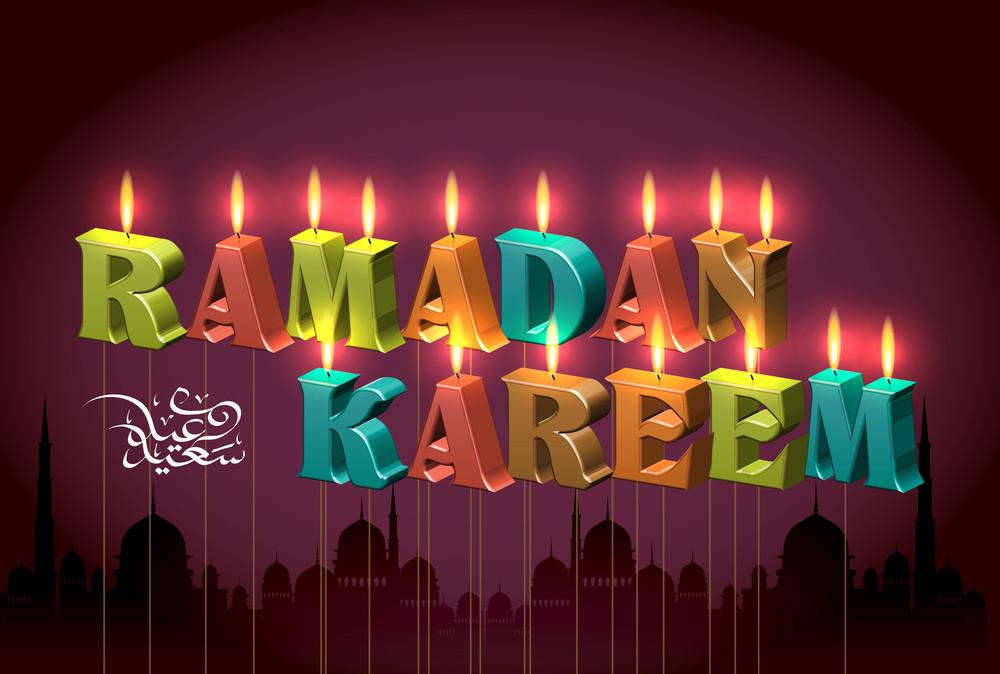 Vector Ramadan Candles. Translation Of Jawi Text: Eid Mubarak