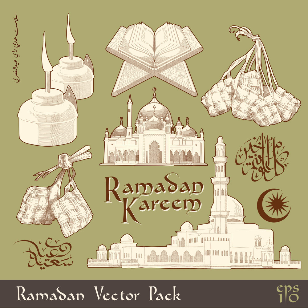 Vector Ramadan Element. Translation Of Jawi Text: Eid Mubarak