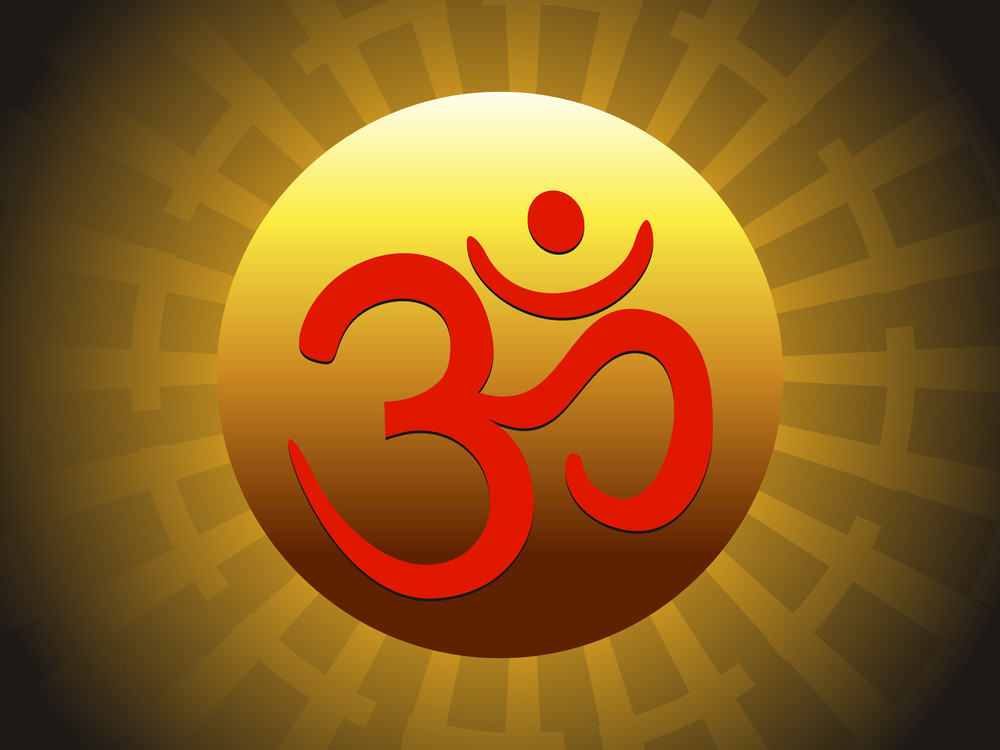 Vector Rays Background With Om