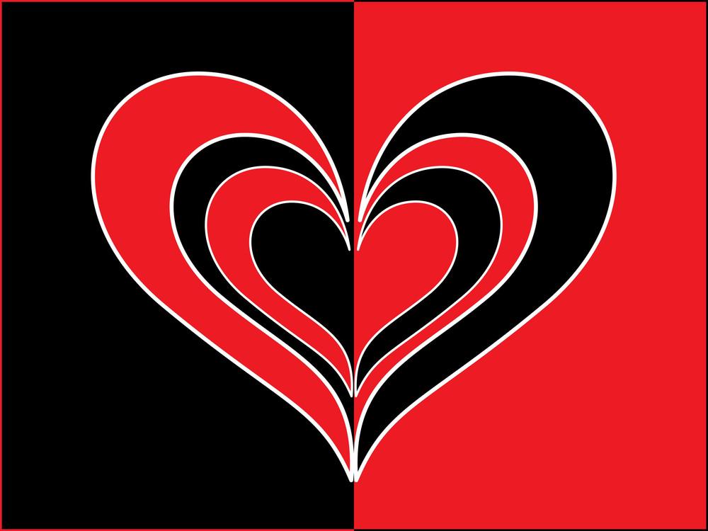 Vector Red Black True Love Card
