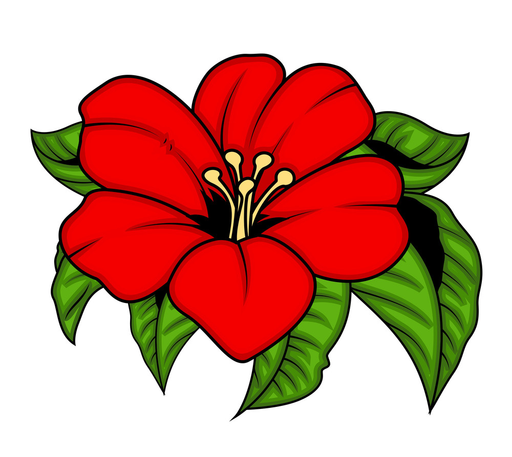 Vector Red Flower With Leaves