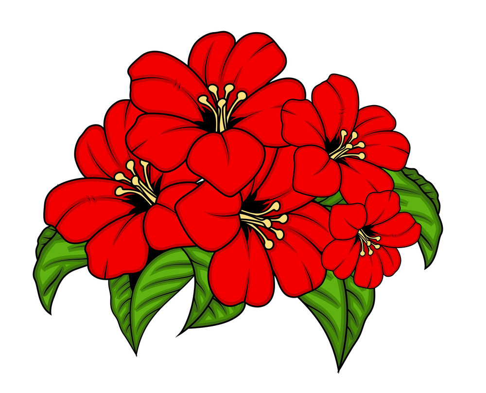 Vector Red Flowers Bunch