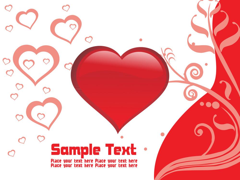 Vector- Red Valentine Card Illustration