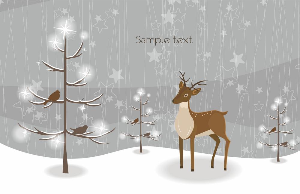 Vector Reindeer With Tree
