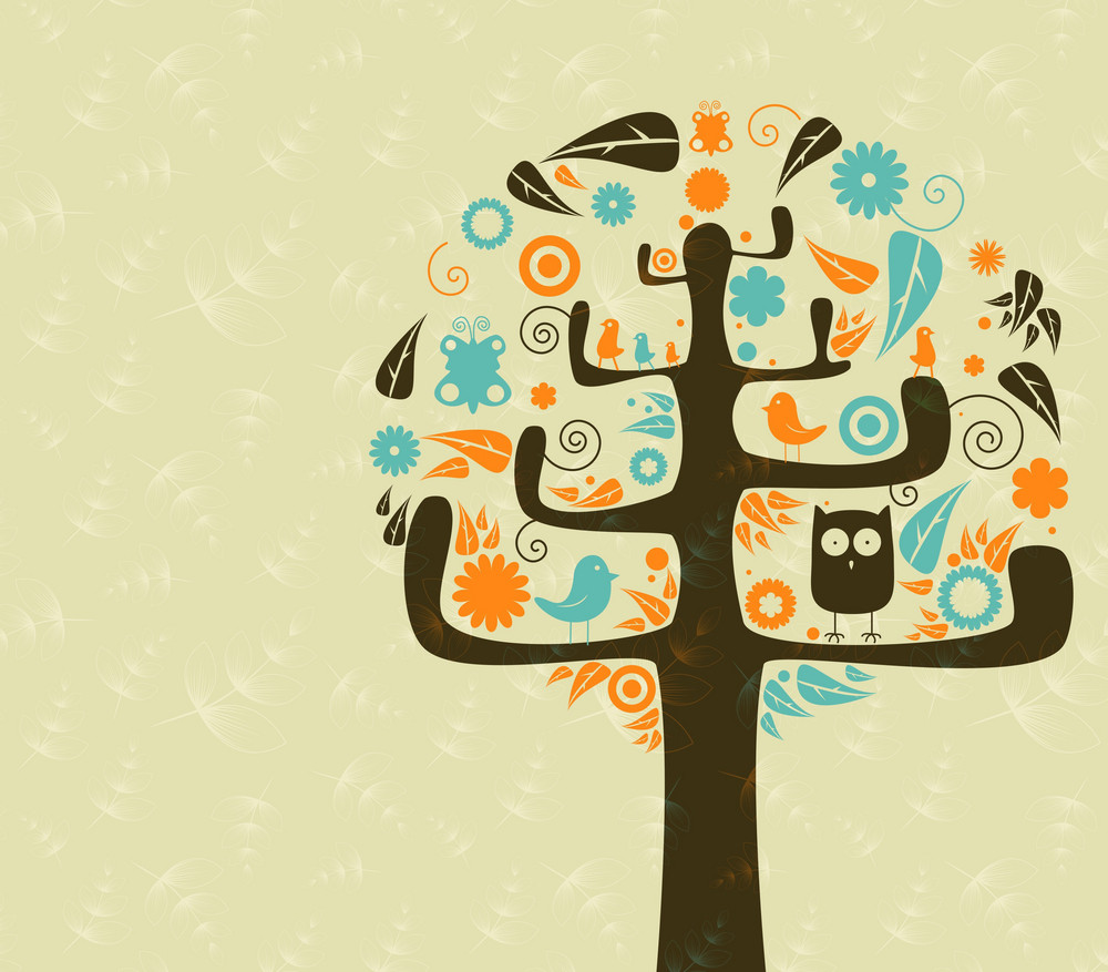 Vector Retro Background With Abstract Tree