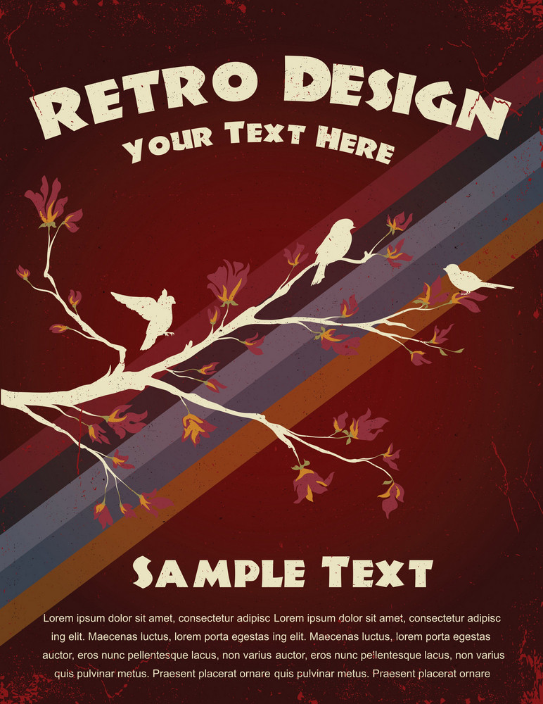 Vector Retro Background With Birds On A Branch