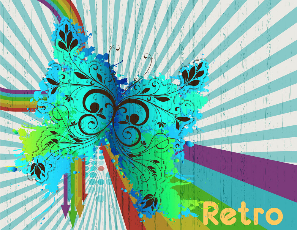 Vector Retro Background With Butterfly