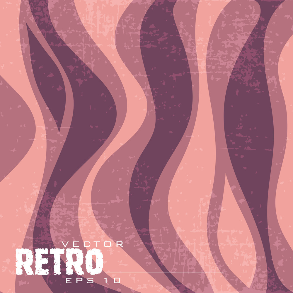 Vector Retro Background With Waves