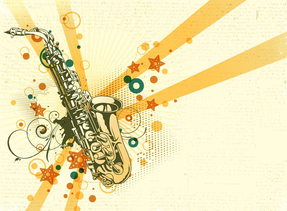 Ретро открытка саксофон, днем народження