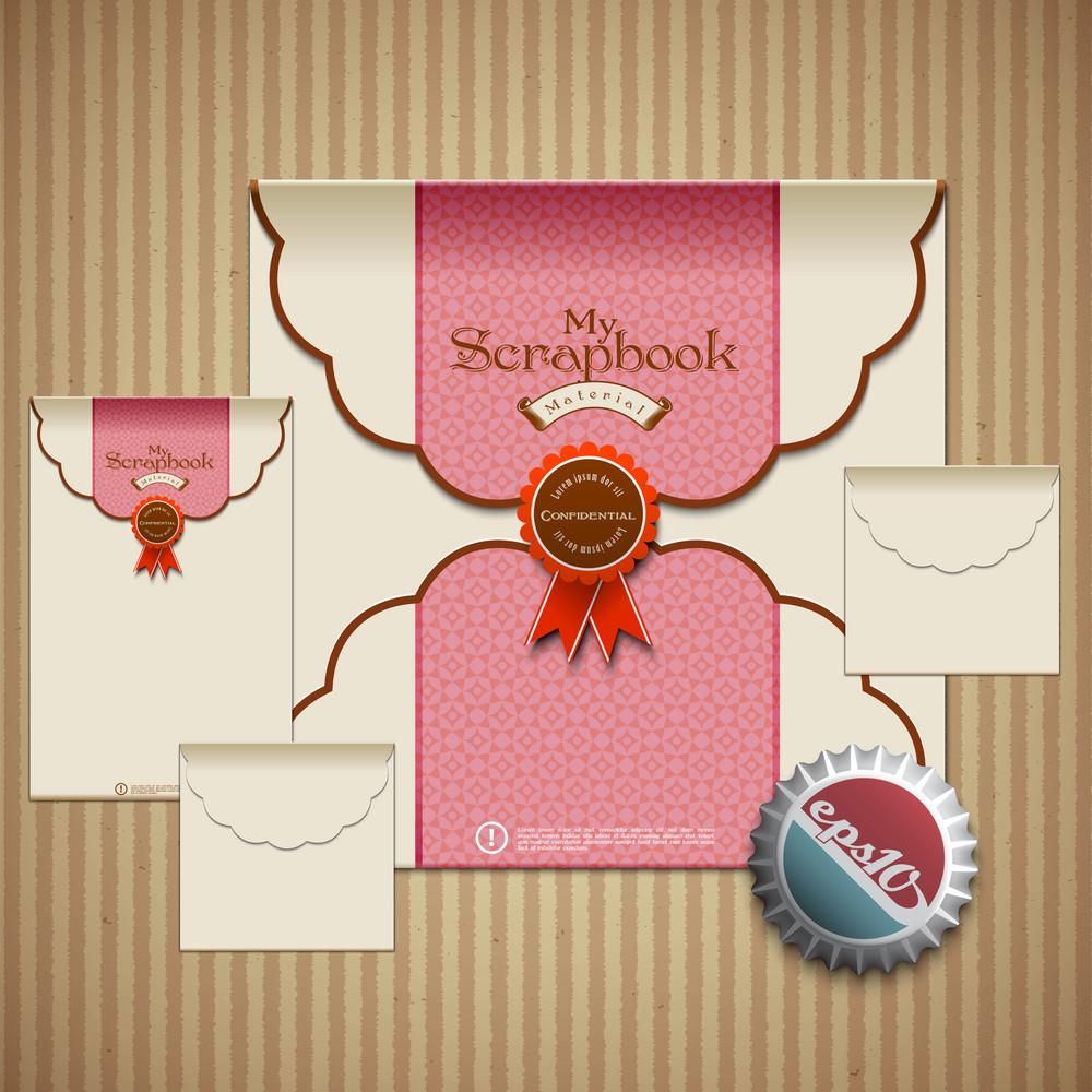 Vector Retro Envelope Set For Scrapbook Design