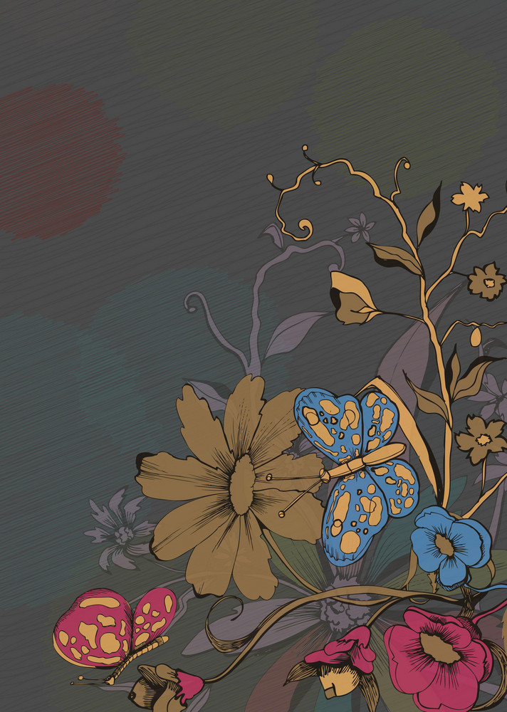 Vector Retro Floral Background