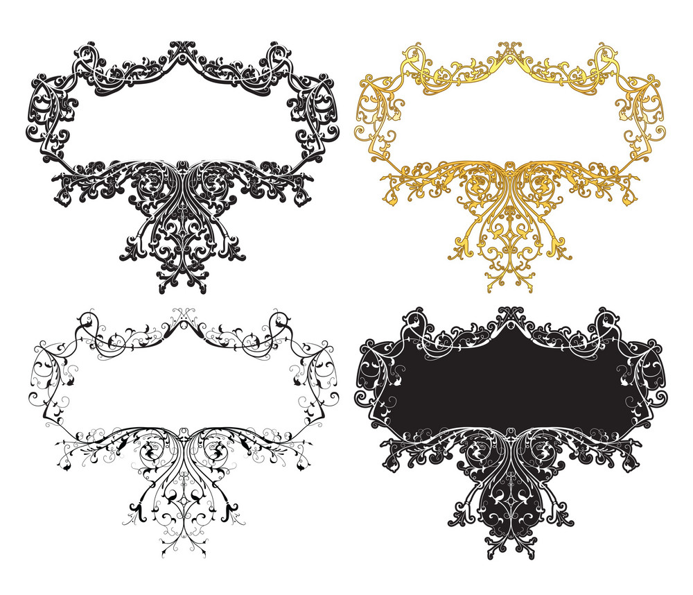 Vector Retro Floral Frame In Different Styles
