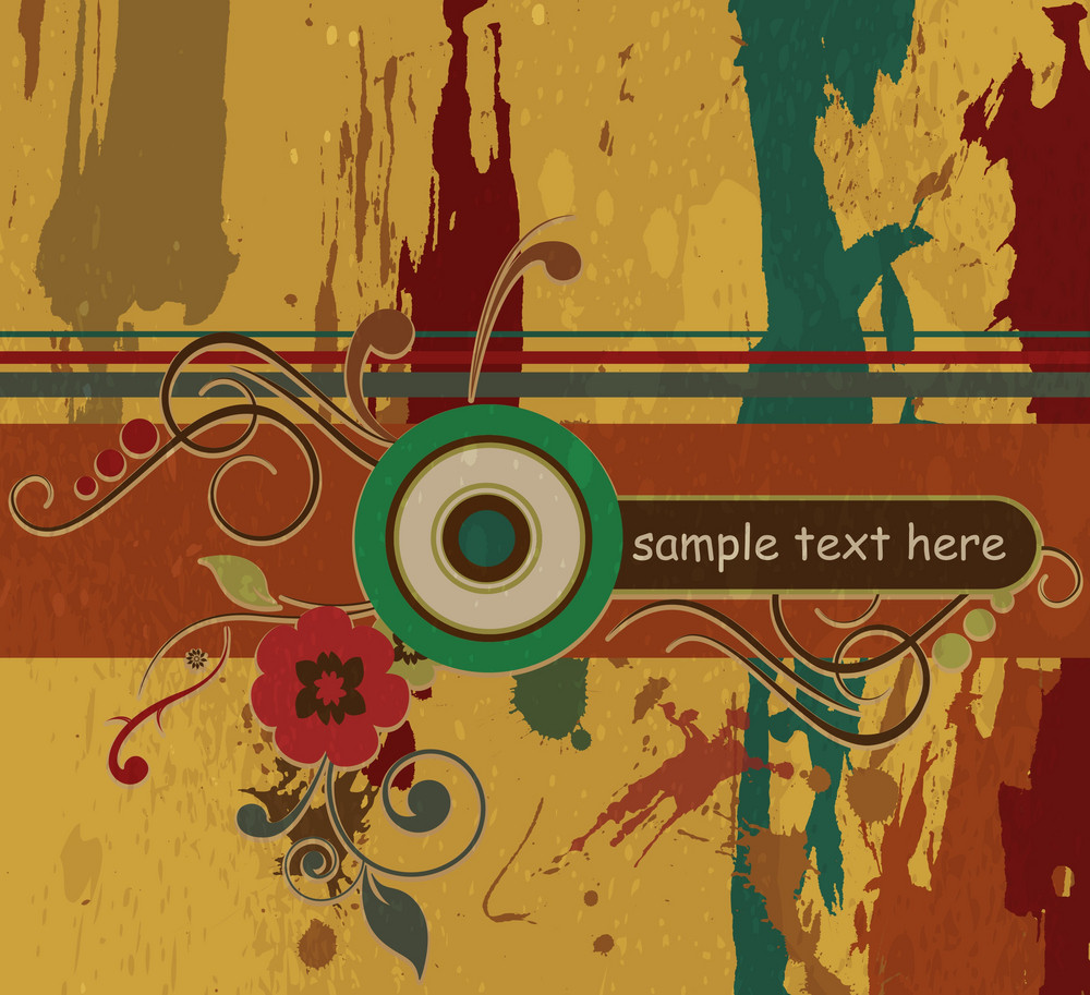 Vector Retro Grunge Background With Circles