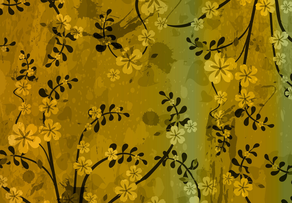 Vector Retro Grunge Background With Floral