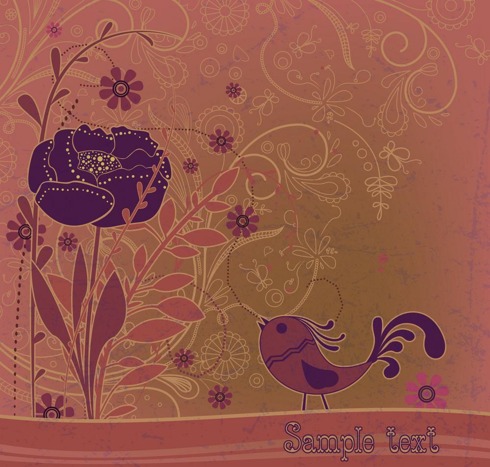 Vector Retro Grunge Floral Background