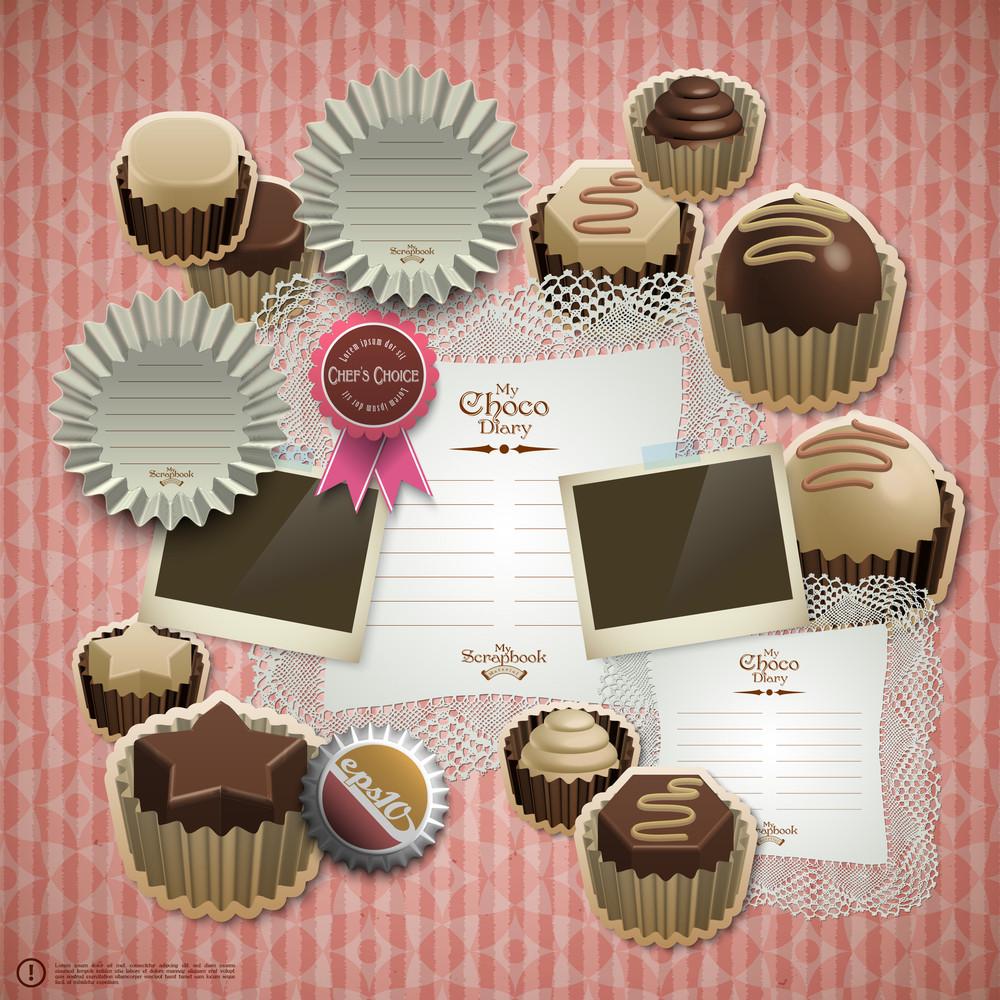 Vector Retro Scrapbook Element For Chocolate Diary
