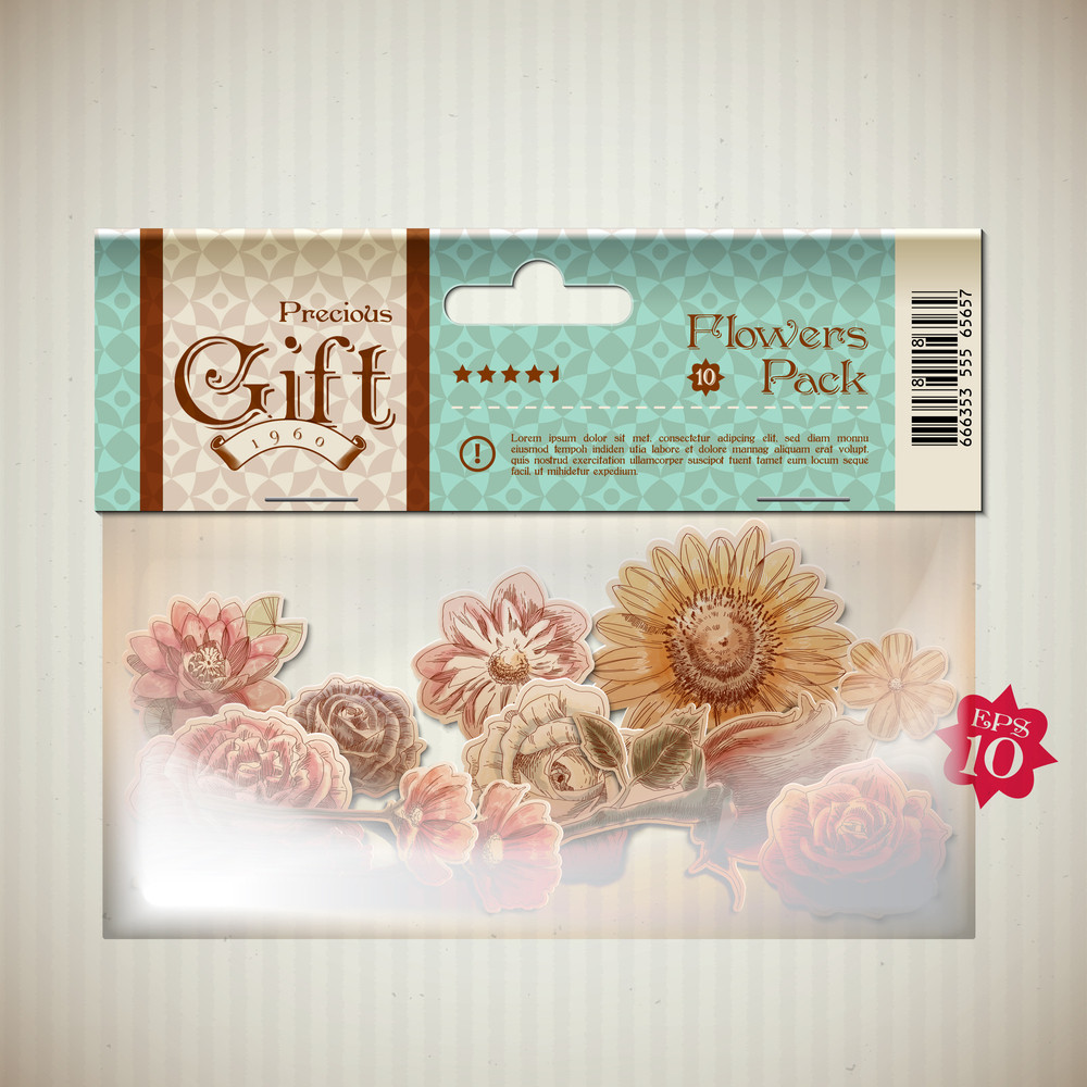 Vector Retro Transparent Plastic Pocket With Bunch Of Flowers Graphics