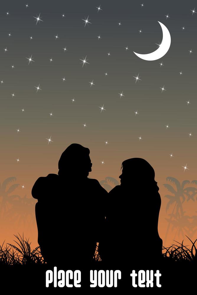 Vector Romantic Couple Siting In Garden