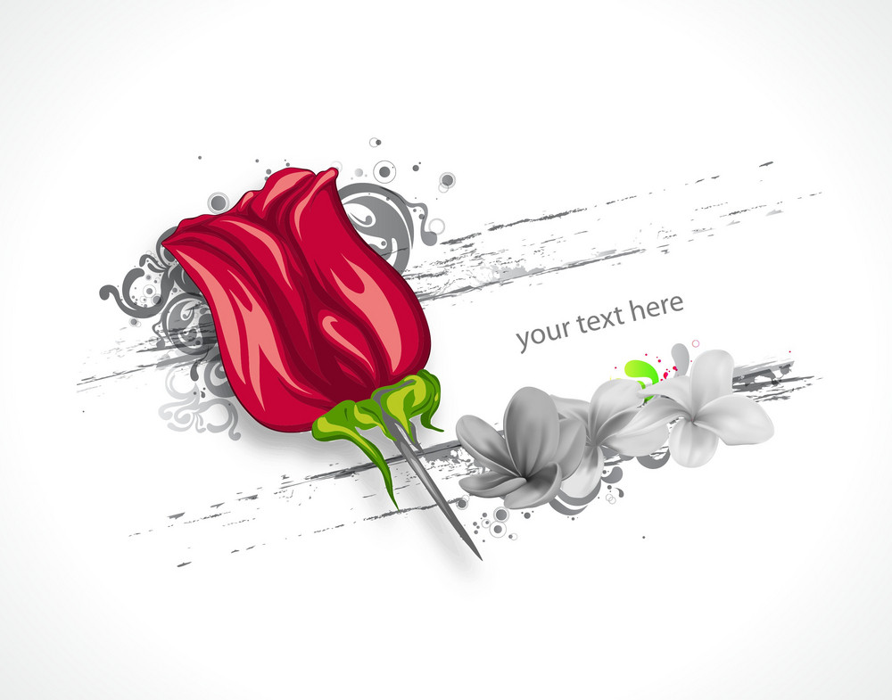 Vector Rose With Grunge