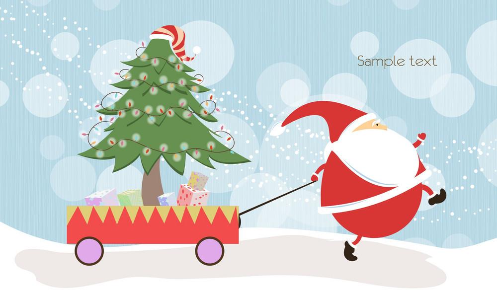 Vector Santa With Tree