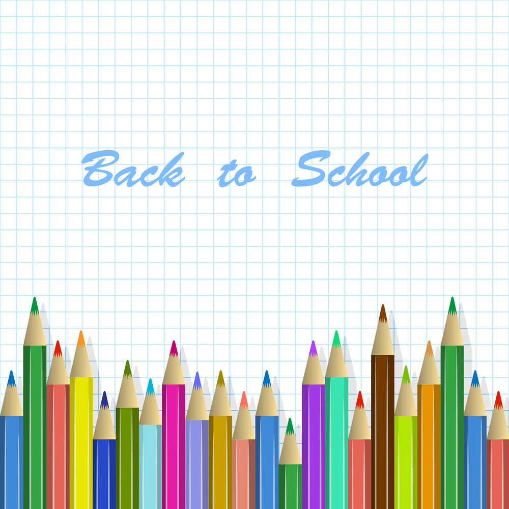 Vector School Background With Colored Pencils