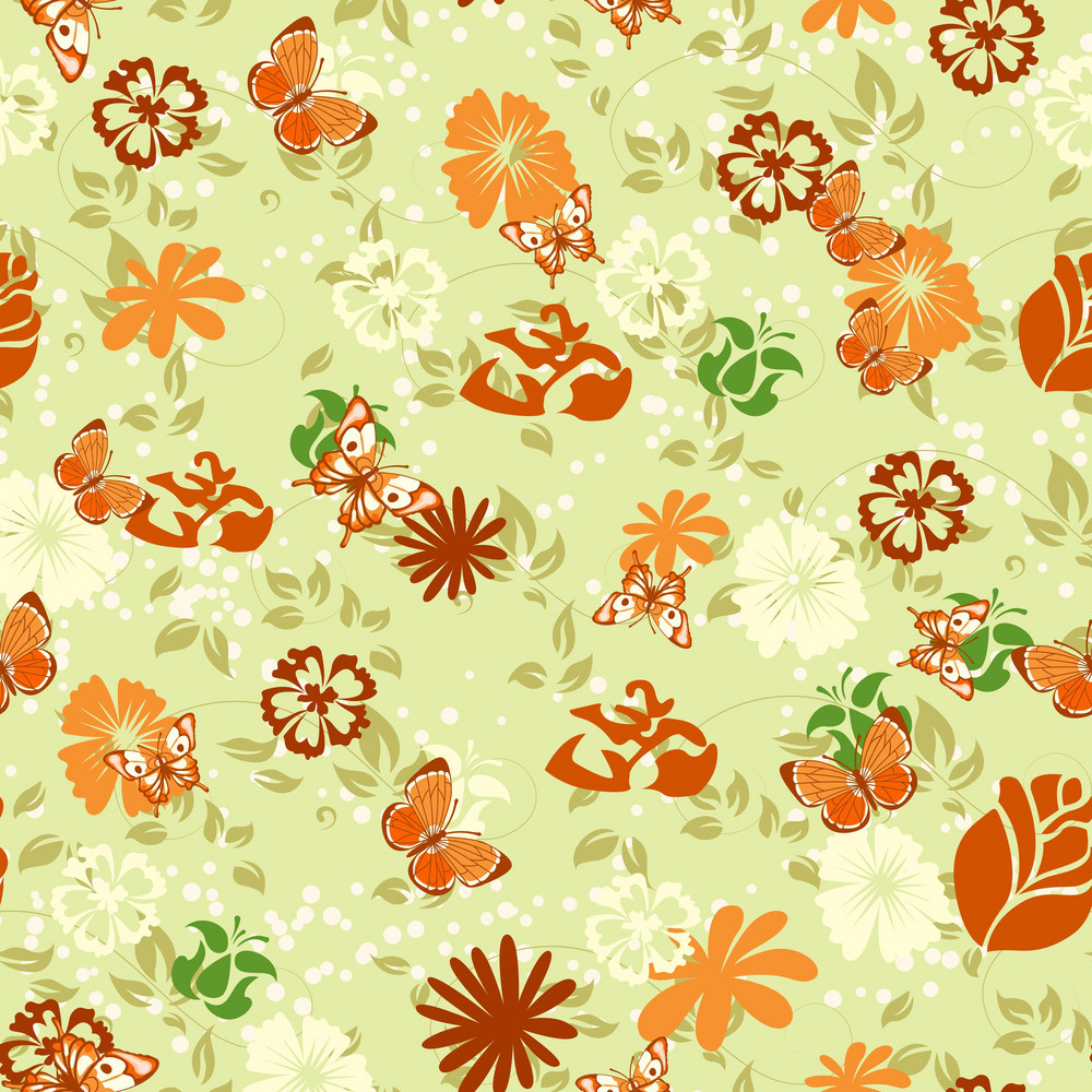 Vector Seamless Floral Background With Butterflies