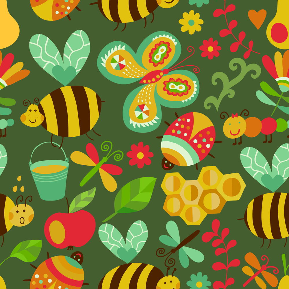 Vector Seamless Floral Pattern. Summer Composition With Honeycomb